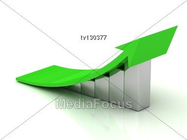 Chart The Growth Of The Silver Bars With A Green Wide Arrow In A Very High Resolution Stock Photo