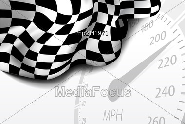 Checkered Race Flag. Racing Flags. Background Checkered Flag Formula One With Space For Your Text Stock Photo