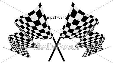 Checkered Race Flag Vector Illustration Isolated On White Background Stock Photo