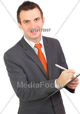 Cheerful Businessman With Organizer And Pen. Isolated Over White Stock Photo