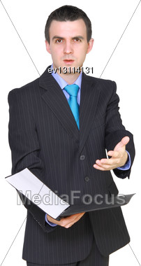 Cheerful Businessman With Paper Folder. Isolated Over White Stock Photo