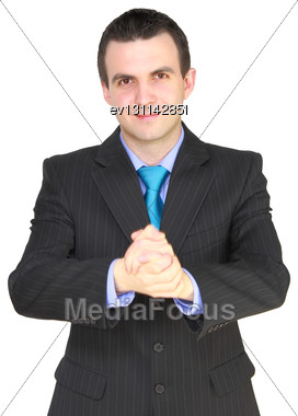 Cheerful Businessman Ready For Handshake. Isolated Over White Stock Photo