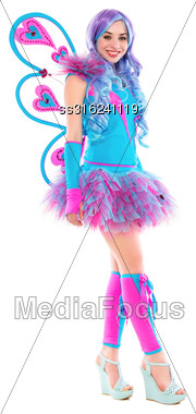 Cheerful Leggy Woman Posing In Colorful Butterfly Costume. Isolated On White Stock Photo