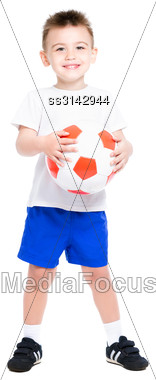Cheerful Nice Boy Posing With A Soccer Ball. Isolated On White Stock Photo