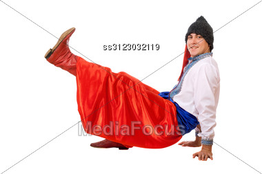 Cheerful Young Man In The Ukrainian National Costume Stock Photo