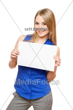 Cheerful Young Woman Holding Empty White Board. Stock Photo