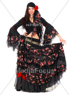 Cheerful Young Woman Wearing Romany Traditional Costume. Isolated On White Stock Photo