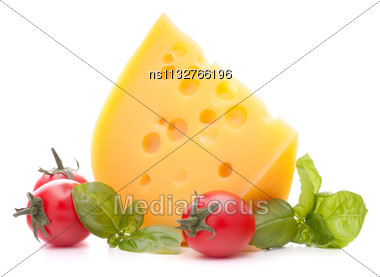 Cheese And Basil Leaves Still Life Isolated On White Background Cutout Stock Photo