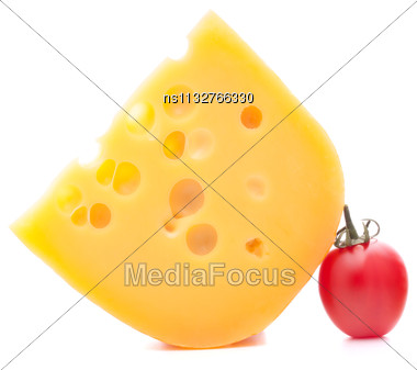 Cheese And Cherry Tomato Isolated On White Background Cutout Stock Photo
