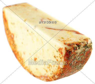 Cheese With Pepperoni On White Background Stock Photo