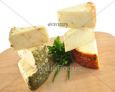 Cheese With Tomato , Pesto And Pepperoni Stock Photo