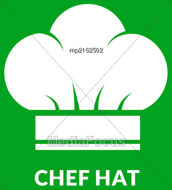 Chef Hat Vector Icon On Green Background Stock Photo