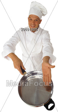 Chef with Empty Pan Stock Photo