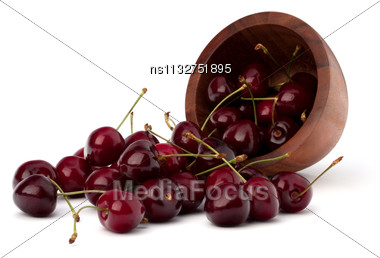 Cherry In Wooden Bowl Isolated On White Background Stock Photo