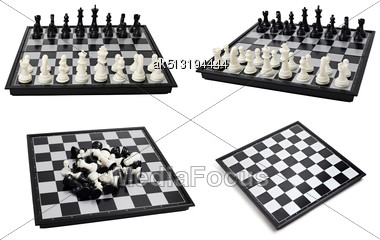 Chess Board With Figures Isolated On White Background Stock Photo
