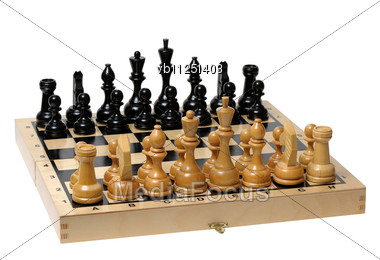 Chess Board With Pieces Apart Before The Party Stock Photo