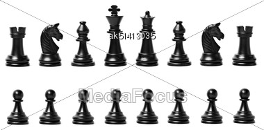Chess Figures Isolated On A White Background Stock Photo