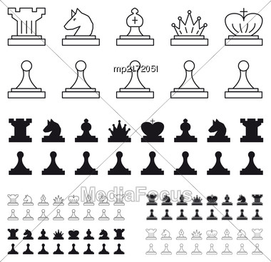 Chess Set That Includes Itself, A Pawn, A Horse, A Rook Of The King, A Queen, Black And White Stock Photo