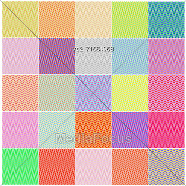Chevron Patterns In Red, Blue, Pink, Yellow, Green. Set Of Vintage Retro Backgrounds Stock Photo