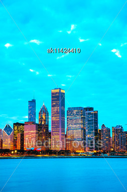 Chicago Downtown Cityscape At Night Time Stock Photo