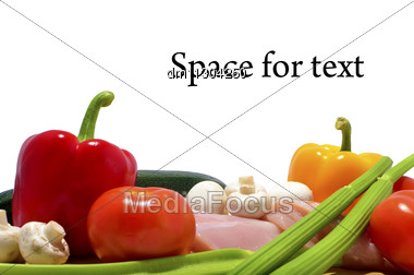 Chicken, Knife And Vegetables On A Cutting Board, Isolated On White, Space For Text Stock Photo