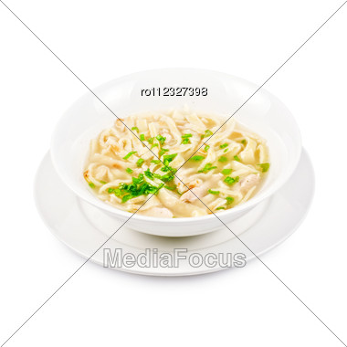 Chicken Noodle Soup Isolated On A White Stock Photo