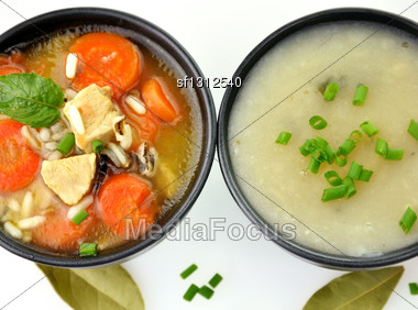 Chicken And Wild Rice Soup And Potato Cream Soup, Top View Stock Photo