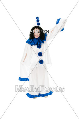 Child In Costume Pierrot Stock Photo