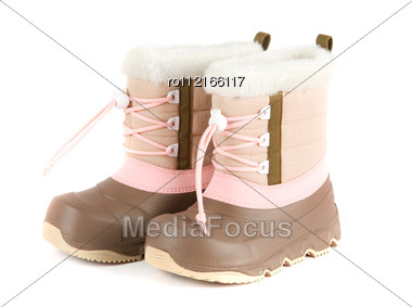 Child Winter Boots Stock Photo