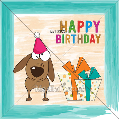 Childish Birthday Card With Funny Dog, Vector Format Stock Photo