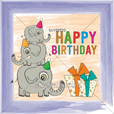 Childish Birthday Card With Funny Elephants, Vector Format Stock Photo
