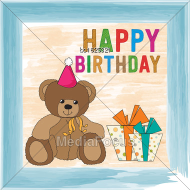 Childish Birthday Card With Teddy Bear, Vector Format Stock Photo