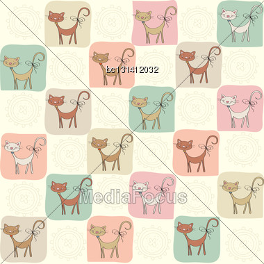 Childish Seamless Pattern With Cats, Vector Illustration Stock Photo