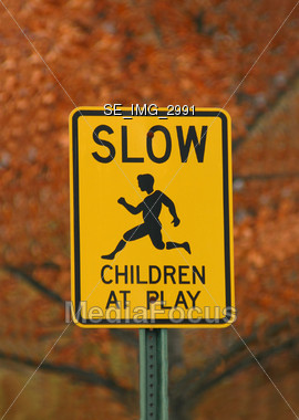 Children at Play Sign Stock Photo