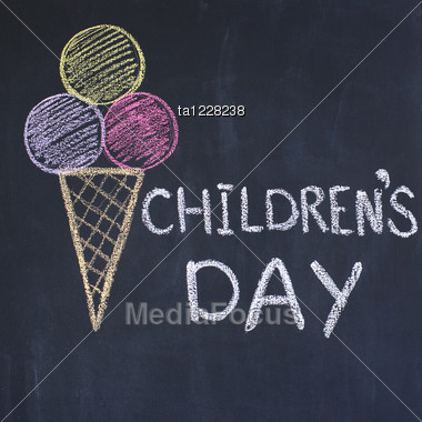 """Children's Day"" Written By A Chalk On A Blackboard Stock Photo"
