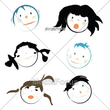 Children Faces On White Background Stock Photo