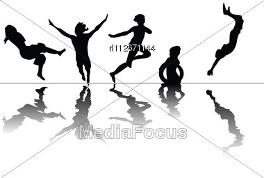 Children Swiming- Stylized Silhouettes Of Children Jumping And Swimind Stock Photo