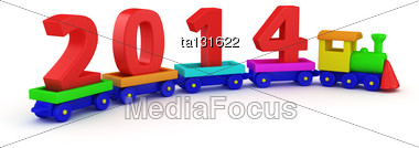 Children Train With Red Digits 2014 Stock Photo