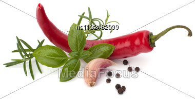 Chili Pepper And Spice Isolated On White Background Stock Photo