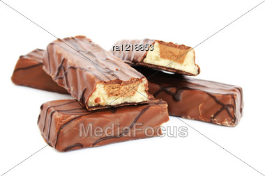 Chocolate Bars Isolated On White Background. Stock Photo