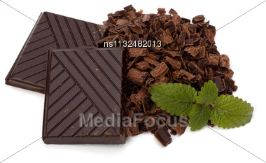Chocolate Bars And Mint Leaf Isolated On White Background Stock Photo
