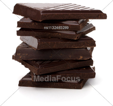 Chocolate Bars Stack Isolated On White Background Stock Photo