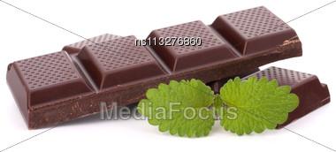 Chocolate Bars Stack Isolated On White Background Stock Photo