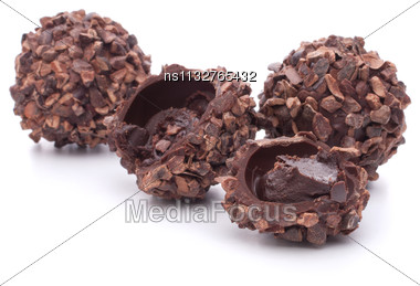 Chocolate Candies Isolated On White Background Cutout Stock Photo