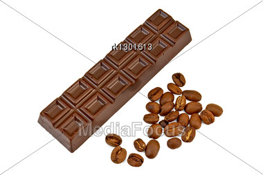 Chocolate With Coffee Beans Stock Photo