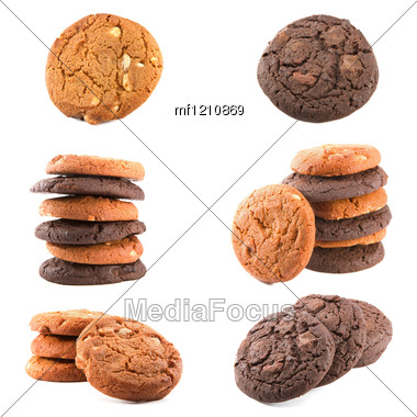 Chocolate Cookies Set Stock Photo