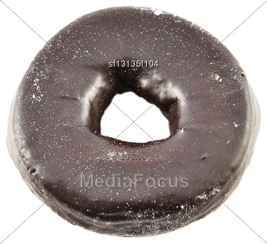 Chocolate Donut On White Background Stock Photo