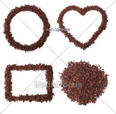 Chocolate Frames Isolated On White Background Stock Photo