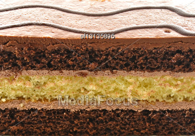 Chocolate Fudge Layer Cake , Close Up Stock Photo