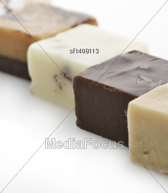 Chocolate Fudge Squares,Close Up Stock Photo